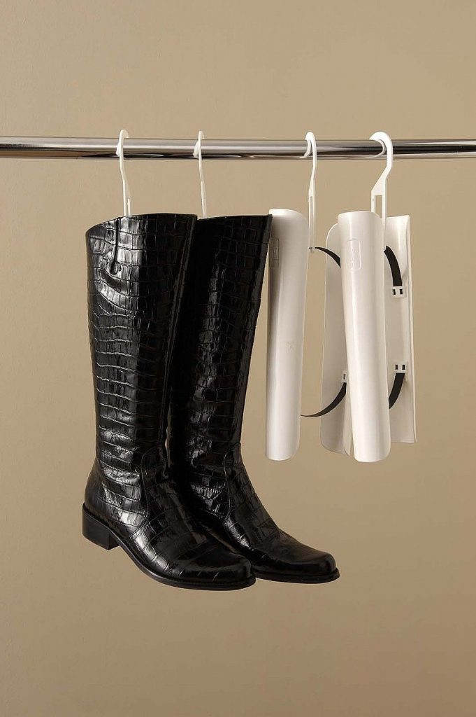 Hanging boot shapers help preserve shape and defy gravity for knee high
