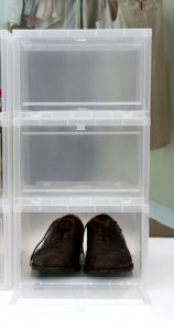 Store your shoes in clear plastic boxes to preserve them and easily identify them.